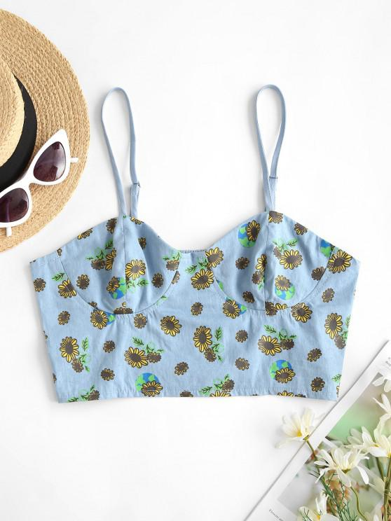 ZAFUL Chambray Smocked Back Sunflower Bustier Top - أزرق فاتح S