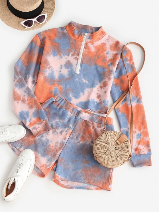 fashion ZAFUL Half Zip Tie Dye Two Piece Set - DARK ORANGE M