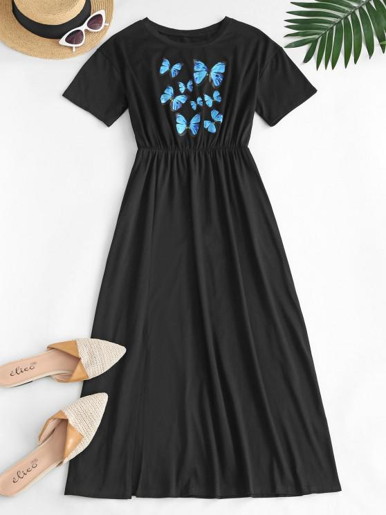 fashion Casual Front Slit Butterfly Midi Dress - BLACK L