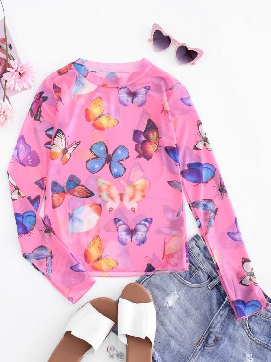 latest Butterfly Mesh See Through Slim Tee - LIGHT PINK ONE SIZE