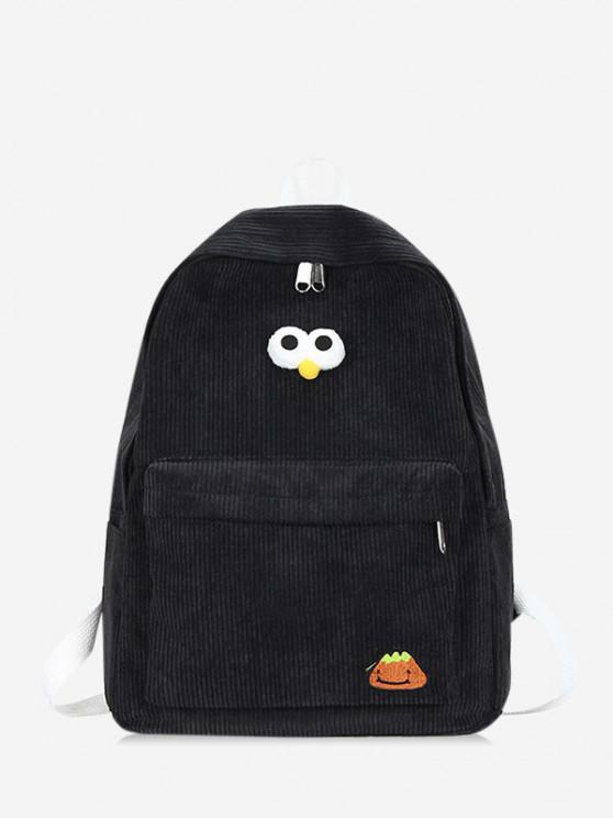ladies Cartoon Eyes Corduroy Solid Backpack - BLACK