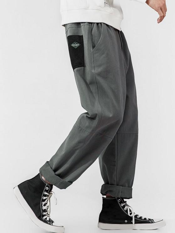 Colorblock Pocket Patch Applique Pants - اللون الرمادي XS