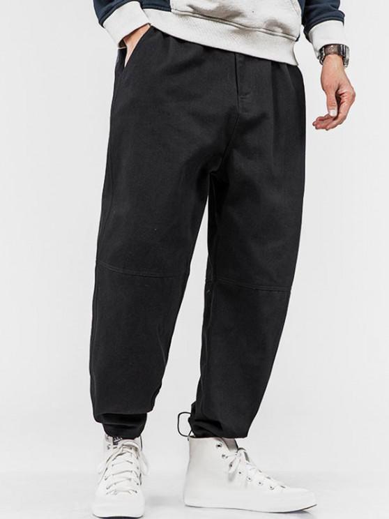 women Colorblock Pocket Patch Applique Pants - BLACK XS