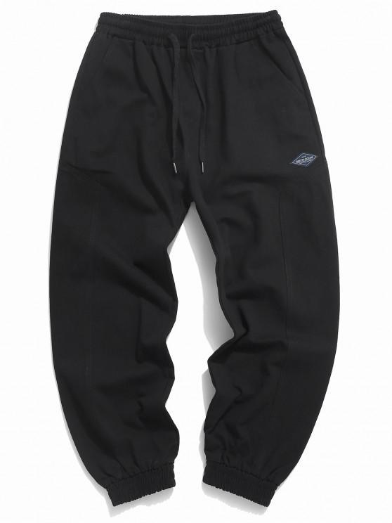 best Solid Applique Elastic Cuff Pants - BLACK 2XL