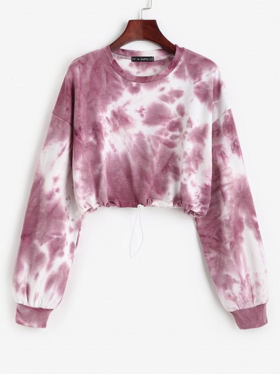 best Toggle Drawstring Drop Shoulder Crop Sweatshirt - RED S