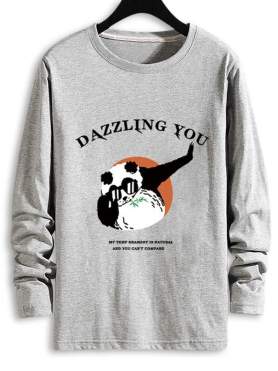 眩しいあなたパンダグラフィックTシャツ - グレー S