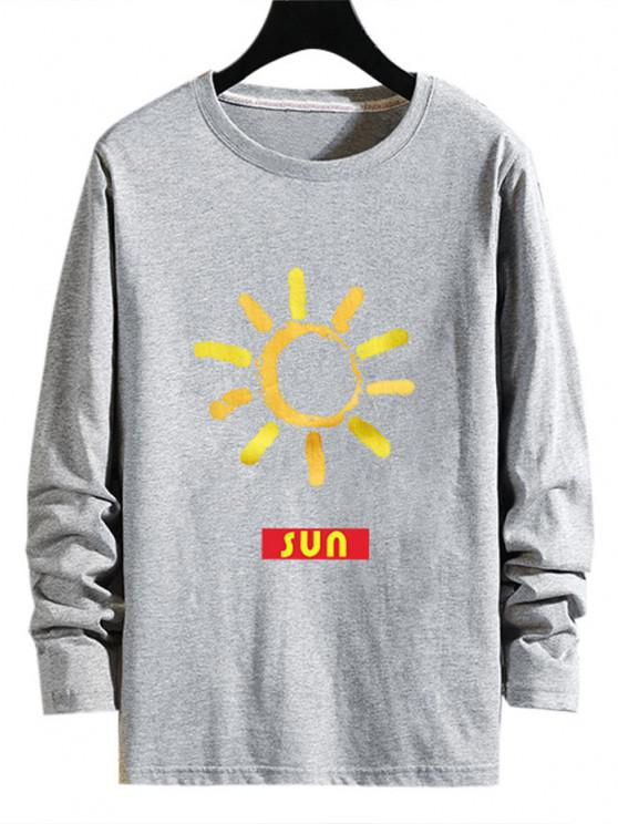 Sun Pattern Long Sleeve T Shirt - اللون الرمادي S