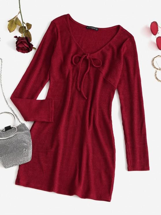 womens Plain Front Tied Knitted Mini Bodycon Dress - RED L