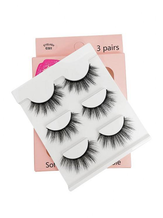 fancy 3Pairs Handmade False Eyelashes Set - BLACK G301