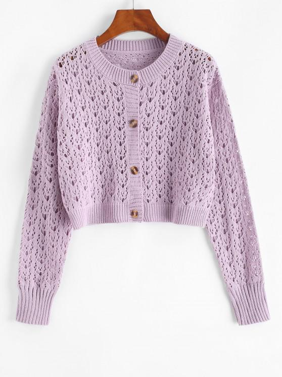women's Solid Button Up Open Knit Cardigan - LIGHT PURPLE ONE SIZE