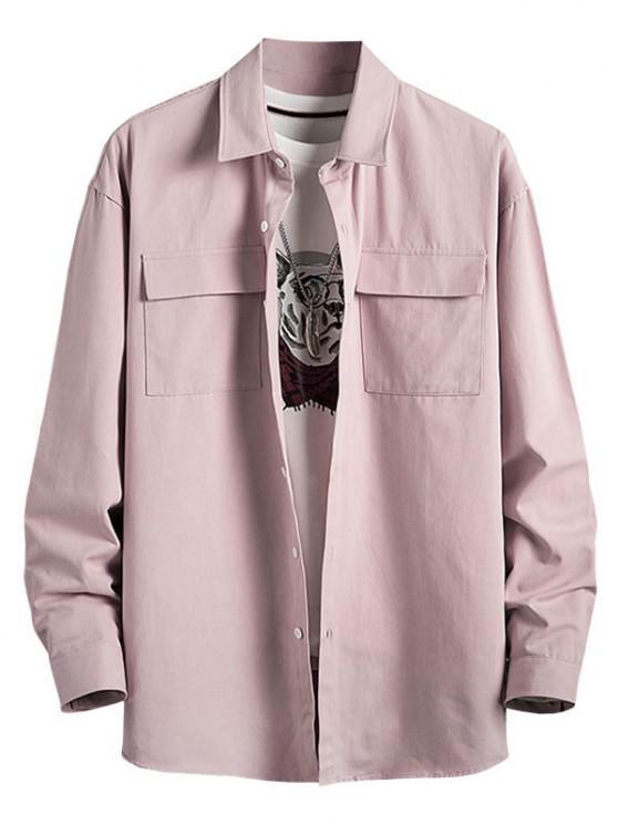 outfit Plain Flap Pocket Basic Shirt - PINK 4XL