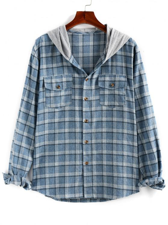 lady ZAFUL Plaid Flap Pocket Colorblock Hooded Shirt - BLUE GRAY 2XL