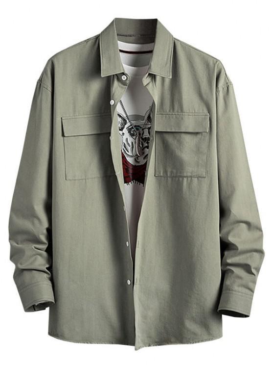 outfit Plain Flap Pocket Basic Shirt - LIGHT GREEN 3XL