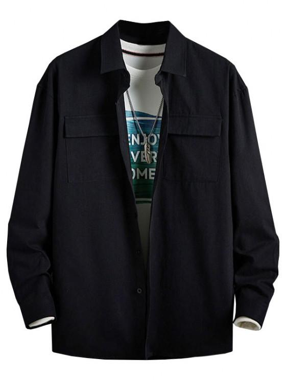 Plain Flap Pocket Basic Shirt - أسود 3XL