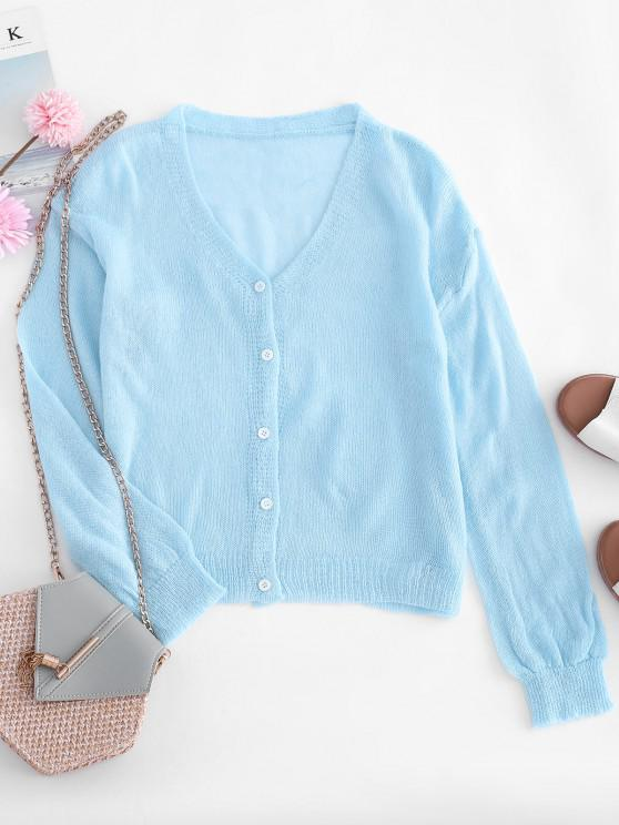 hot Drop Shoulder Casual Knitted Cardigan - BLUE ONE SIZE