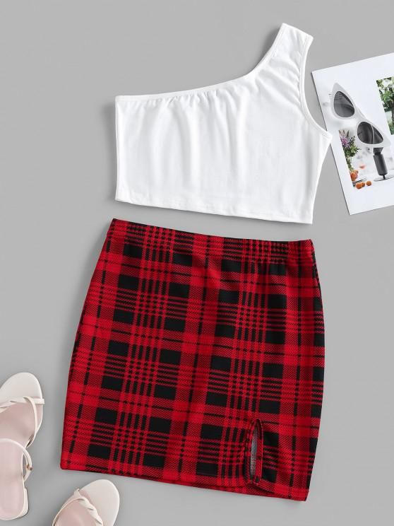 trendy ZAFUL One Shoulder Plaid Two Piece Dress - RED L