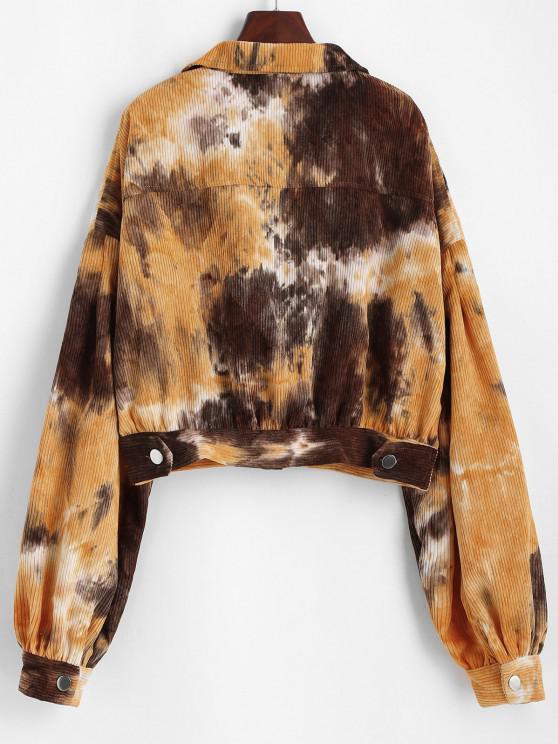 Button Up Tie Dye Corduroy Jacket - Multi S | ZAFUL