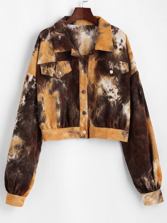 womens Button Up Tie Dye Corduroy Jacket - MULTI L