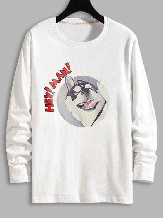 Dog Letter Graphic Long Sleeve T-shirt - أبيض XL