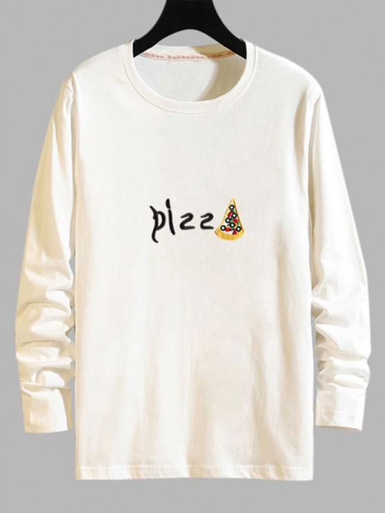 womens Pizza Graphic Print Long Sleeve T-shirt - WHITE XS