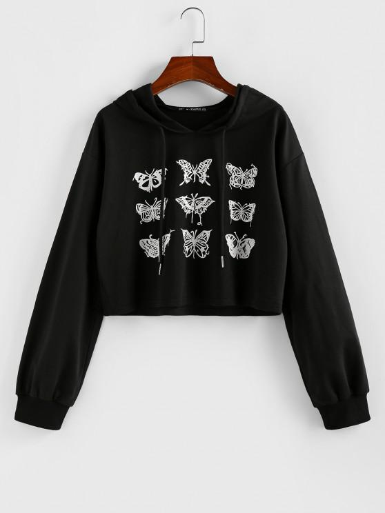 ZAFUL Cropped Drawstring Butterfly Print Hoodie - أسود S