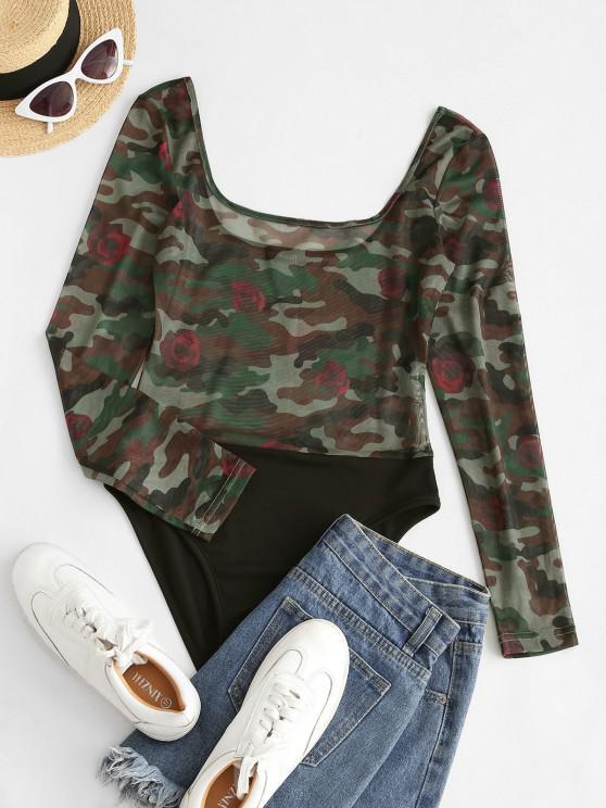 lady ZAFUL Contrast Camouflage Sheer Mesh Bodysuit - DEEP GREEN XL