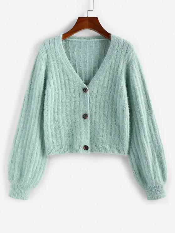 fancy ZAFUL Fuzzy Plunging Button Up Cardigan - LIGHT GREEN S