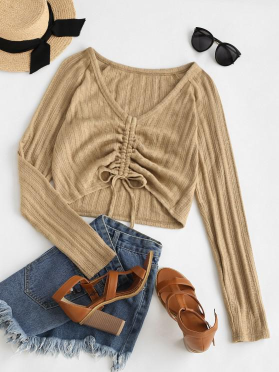 trendy ZAFUL Cinched Raglan Sleeve Plunging Jumper Sweater - LIGHT COFFEE S