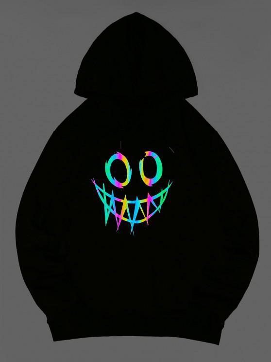 shops ZAFUL Luminous Cartoon Print Kangaroo Pocket Hoodie - BLACK M