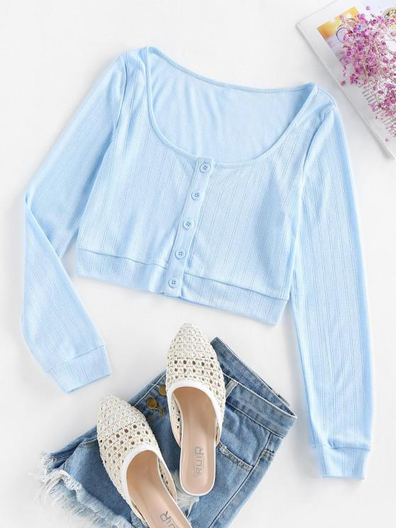 ladies ZAFUL Button Up Cropped Cardigan - POWDER BLUE S