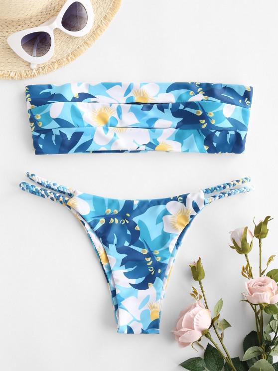 new ZAFUL Braided Straps Cutout Bandeau Bikini Swimwear - BLUE M
