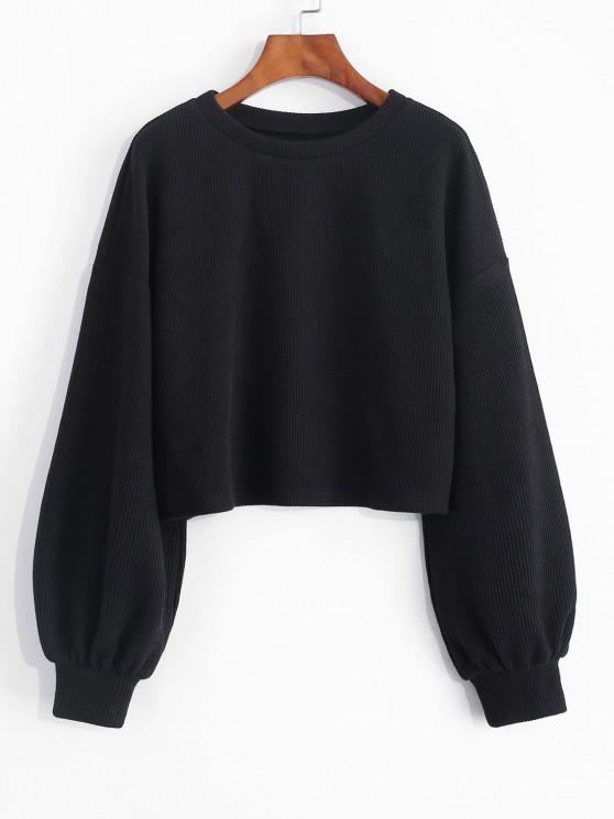 fancy ZAFUL Cropped Lantern Sleeve Sweater - BLACK M