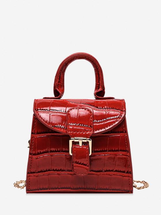 unique Animal Embossed Mini Top Handle Crossbody Bag - RED