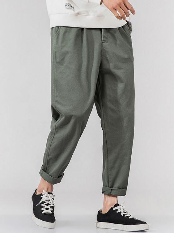 Pantalones Rectos de Bolsillo de Imitación de Color Sólido - Gris 2XL