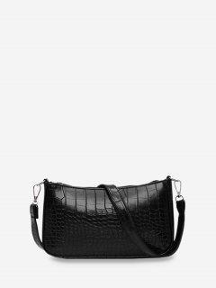 動物エンボスシンプルなスタイルスリングバッグ - 黒
