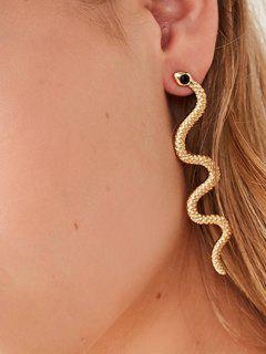 Sinuous Snake Rhinestone Earrings - Golden