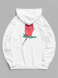 Känguru Tasche Tunnelzug Rose Blumen Druck Hoodie - Weiß 2xl