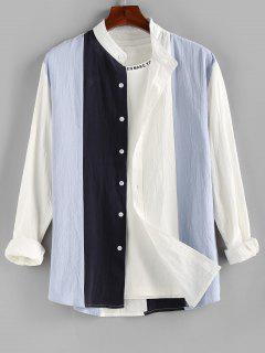 ZAFUL Long Sleeve Contrast Button Up Shirt - Blue L