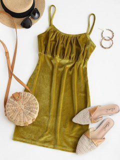 Plain Ruched Velvet Mini Bodycon Dress - Green M