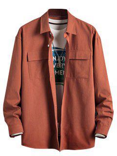 Einfarbiges Klappen Tasche Basik Hemd - Dunkles Orange M