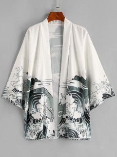 Blouse KimonoOuverten AvantDragon Oriental - Blanc