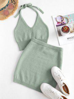 Halter Cropped Knitted Two Piece Dress - Light Green