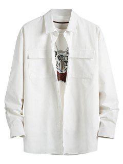Plain Flap Pocket Basic Shirt - White Xl