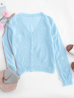 Drop Shoulder Casual Knitted Cardigan - Blue