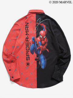 Camisa Gráfica Con Estampado De Spider-Man En Contraste - Negro 2xl