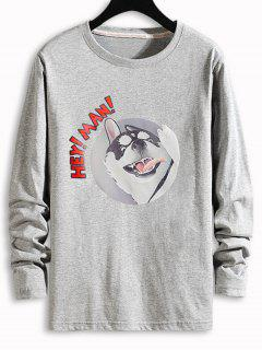 Dog Letter Graphic Long Sleeve T-shirt - Gray Xs