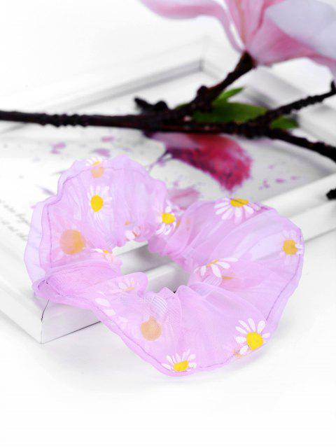 unique Daisy Flower Chiffon Transparent Scrunchy - LIGHT PURPLE  Mobile