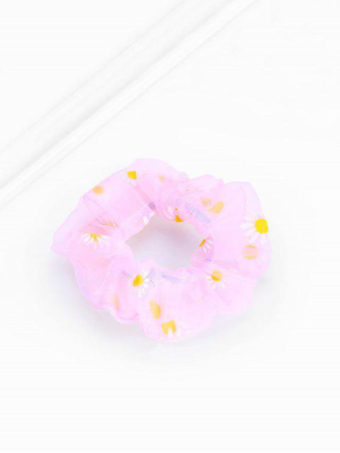 chic Daisy Flower Chiffon Transparent Scrunchy - SAKURA PINK  Mobile