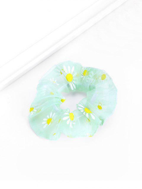 fancy Daisy Flower Chiffon Transparent Scrunchy - LIGHT GREEN  Mobile