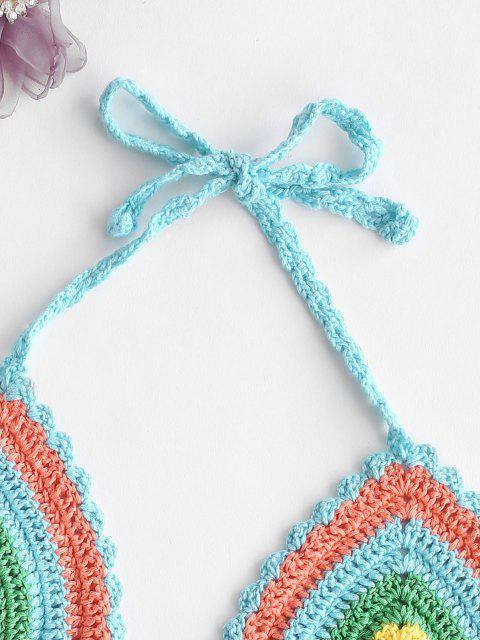 unique Rainbow Crochet Halter Bikini Bra - MULTI ONE SIZE Mobile
